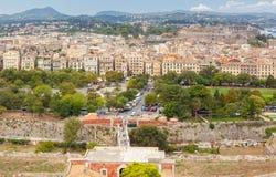 Widok z lotu ptaka stare miasto ulicy, budynki i Obrazy Royalty Free