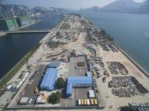 Widok z lotu ptaka stary Hong Kong Kai Tak Lotniskowy pas startowy zostać budową przy 12 Decemeber 2016 obrazy royalty free