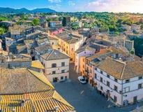 Widok z lotu ptaka stary miasteczko przy zmierzchem obraz royalty free