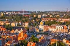 Widok z lotu ptaka stary miasteczko w Gdańskim zdjęcie stock