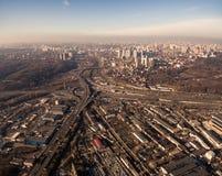 Widok z lotu ptaka strefa przemysłowa i technologia park blisko Dnipro rzeki Fotografia Stock