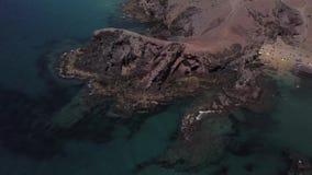 Widok z lotu ptaka strzępiaste plaże Lanzarote i brzeg, Hiszpania, kanarek Papagayo plaża zbiory