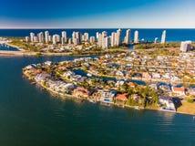 Widok z lotu ptaka surfingowa Southport na złota wybrzeżu i raj, Fotografia Stock