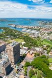 Widok z lotu ptaka Sydney ogród botaniczny i przedmieścia Fotografia Stock