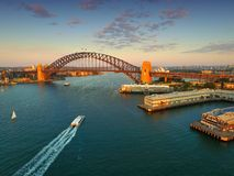 Widok Z Lotu Ptaka Sydney schronienie na półmroku Obraz Royalty Free