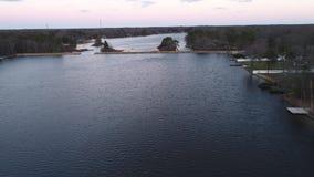 Widok z lotu ptaka Szalunek jeziora Williamstown NJ zbiory wideo