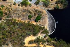 Widok z lotu ptaka Szepcze ściana, Barossa rezerwuar, Adelaide, Sou zdjęcia stock