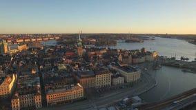 Widok z lotu ptaka Sztokholm miasto zbiory wideo