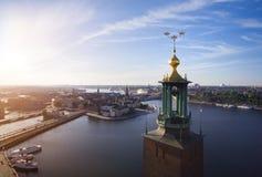Widok z lotu ptaka Sztokholm miasto obrazy royalty free