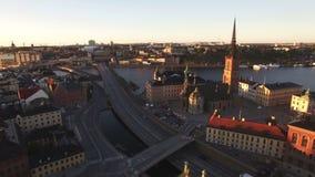 Widok z lotu ptaka Sztokholm miasto zdjęcie wideo