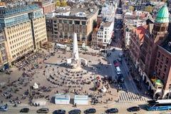 Widok z lotu ptaka tama kwadrat na Kwietniu 23, 2015 w Amsterdam, holandie Fotografia Stock