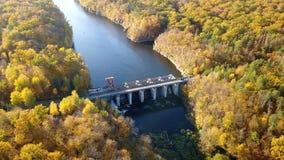 Widok z lotu ptaka tama na rzece z drzewami zakrywał żółtego ulistnienie zbiory wideo