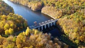 Widok z lotu ptaka tama na rzece z drzewami zakrywał żółtego ulistnienie zbiory