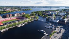 Widok z lotu ptaka Tampere miasto przy latem obraz royalty free