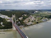 Widok z lotu ptaka Tancarville miasteczko, Francja Fotografia Royalty Free