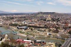Widok z lotu ptaka Tbilisi centrum miasta zdjęcie royalty free