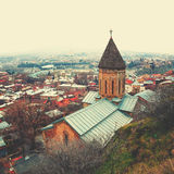 Widok z lotu ptaka Tbilisi, Gruzja z pięknym kościół Obraz Royalty Free