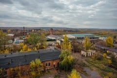 Widok z lotu ptaka teren przemysłowy strefa od above, betonowi budynki, przemysł i rolniczy okręg, Zdjęcia Royalty Free
