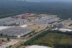 Widok z lotu ptaka terenu przemysłowego teren obraz royalty free
