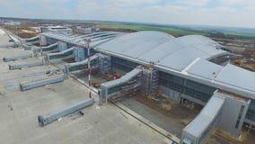 Widok z lotu ptaka terminale i wierza Widok z lotu ptaka Lotniczy park blisko Krakow centrum miasta Lotniskowy terminal, powietrz Obrazy Stock