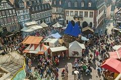 Widok z lotu ptaka 24th Barbarossamarkt festiwal w Gelnhausen Obrazy Stock