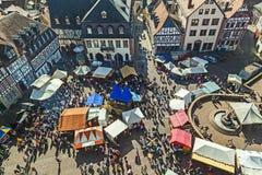 Widok z lotu ptaka 24th Barbarossamarkt festiwal w Gelnhausen Zdjęcie Royalty Free
