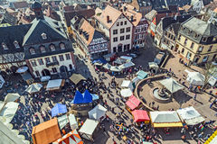 Widok z lotu ptaka 24th Barbarossamarkt festiwal w Gelnhausen Fotografia Stock