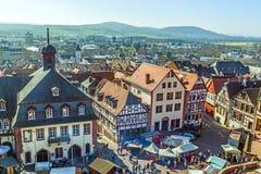 Widok z lotu ptaka 24th Barbarossamarkt festiwal w Gelnhausen Obraz Stock