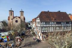 Widok z lotu ptaka 24th Barbarossamarkt festiwal w Gelnhausen Zdjęcie Stock