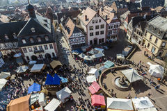Widok z lotu ptaka 24th Barbarossamarkt festiwal w Gelnhausen Obraz Royalty Free