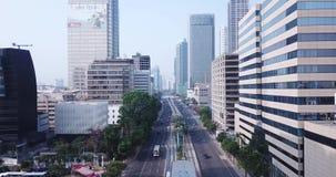 Widok z lotu ptaka Thamrin droga w Dżakarta mieście zdjęcie wideo