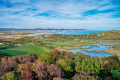 Widok z lotu ptaka Tihany przy jeziornym Balaton Obrazy Royalty Free