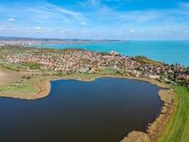 Widok z lotu ptaka Tihany przy jeziornym Balaton Obrazy Stock