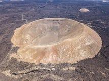 Widok z lotu ptaka Timanfaya, park narodowy, kaldery Blanca, panoramiczny widok volcanoes Lanzarote, Wyspa Kanaryjska, Hiszpania obraz stock
