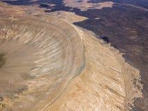 Widok z lotu ptaka Timanfaya, park narodowy, kaldery Blanca, panoramiczny widok volcanoes Lanzarote, Wyspa Kanaryjska, Hiszpania obraz royalty free