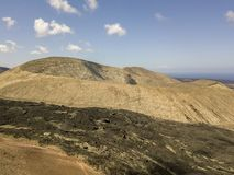 Widok z lotu ptaka Timanfaya, park narodowy, kaldery Blanca, panoramiczny widok volcanoes Lanzarote, Wyspa Kanaryjska, Hiszpania fotografia royalty free