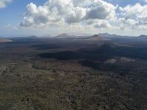 Widok z lotu ptaka Timanfaya, park narodowy, panoramiczny widok volcanoes Lanzarote, Wyspa Kanaryjska, Hiszpania zdjęcie stock