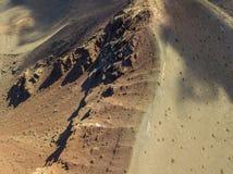 Widok z lotu ptaka Timanfaya, park narodowy, panoramiczny widok volcanoes Lanzarote, Wyspa Kanaryjska, Hiszpania obrazy royalty free