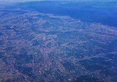 Widok z lotu ptaka topograficzni krajobrazy nad Midwest stanami na locie nad Kolorado, Kansas, Missouri, Illinois, Indiana, Ohio obraz royalty free