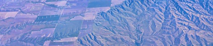 Widok z lotu ptaka topograficzni krajobrazy nad Midwest stanami na locie nad Kolorado, Kansas, Missouri, Illinois, Indiana, Ohio obrazy royalty free