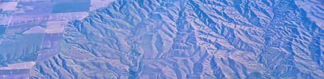 Widok z lotu ptaka topograficzni krajobrazy nad Midwest stanami na locie nad Kolorado, Kansas, Missouri, Illinois, Indiana, Ohio zdjęcie royalty free