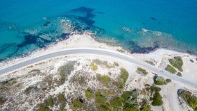 Widok Z Lotu Ptaka: Trutnia wideo plaże w Rhodes Mandriko, Rodos wyspa obraz royalty free