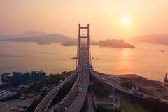 Widok z lotu ptaka Tsing Ma most Autostrady w Hong kong z struktur? zawieszenie architektura w transporcie i podr zdjęcia stock