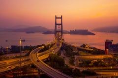 Widok z lotu ptaka Tsing Ma most Autostrady w Hong kong z struktur? zawieszenie architektura w transporcie i podr??y fotografia royalty free