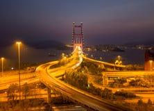 Widok z lotu ptaka Tsing Ma most Autostrady w Hong kong z strukturą zawieszenie architektura w transporcie i podróży zdjęcie stock