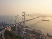 Widok z lotu ptaka Tsing Ma most Autostrady w Hong kong z struktur? zawieszenie architektura w transporcie i podr??y obrazy stock