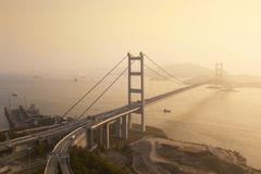 Widok z lotu ptaka Tsing Ma most Autostrady w Hong kong z struktur? zawieszenie architektura w transporcie i podr??y zdjęcia stock