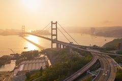 Widok z lotu ptaka Tsing Ma most Autostrady w Hong kong z struktur? zawieszenie architektura w transporcie i podr??y obraz stock