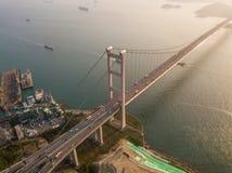 Widok z lotu ptaka Tsing Ma most Autostrady w Hong kong z struktur? zawieszenie architektura w transporcie i podr??y zdjęcie stock