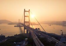 Widok z lotu ptaka Tsing Ma most Autostrady w Hong kong z struktur? zawieszenie architektura w transporcie i podr??y obrazy royalty free